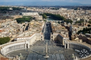 <h5>The view of St. Peter's Square of from St. Peter's Basilica Dome, Vatican City, Italy</h5>