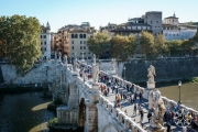 <h5>View of St. Angelo Bridge from Castel Sant&#039;Angelo, Rome, Italy</h5>